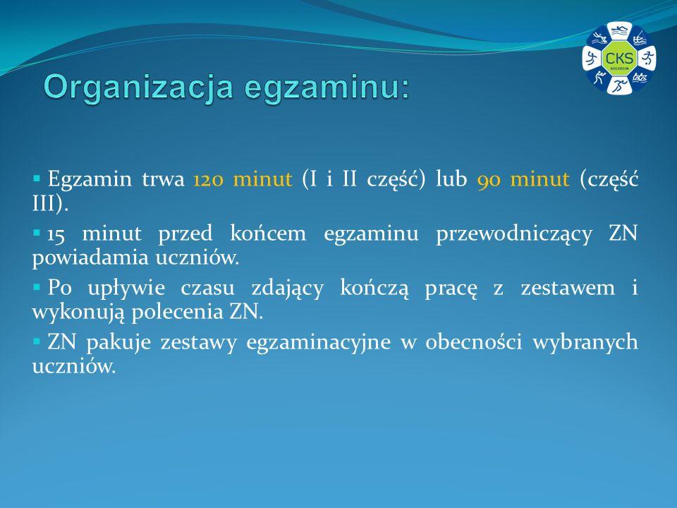Organizacja egzaminu:
