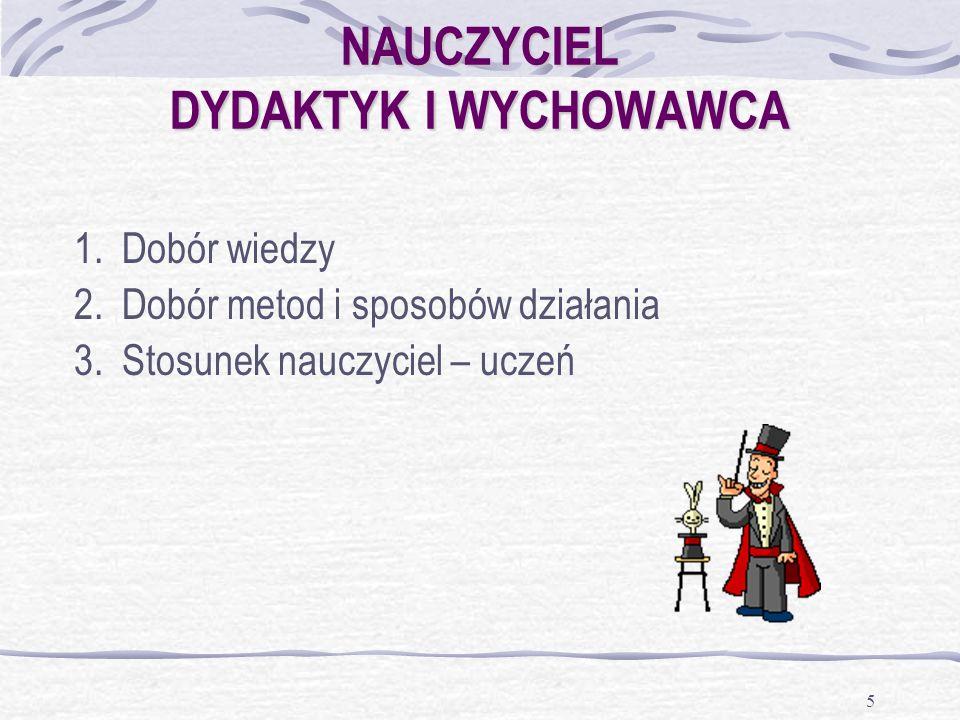 NAUCZYCIEL DYDAKTYK I WYCHOWAWCA