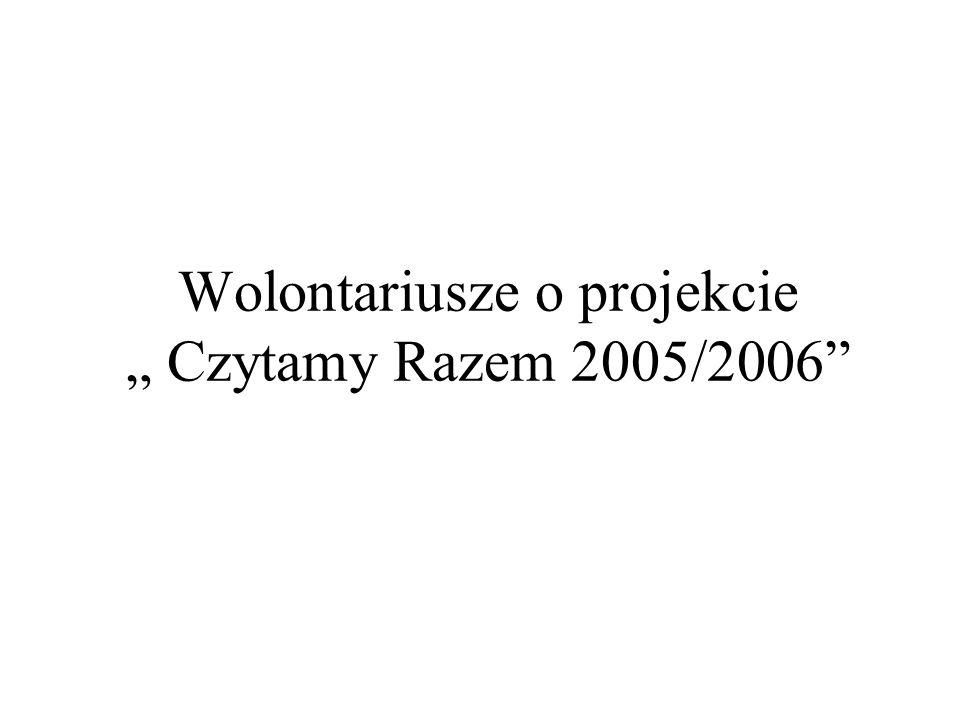 """Wolontariusze o projekcie """" Czytamy Razem 2005/2006"""