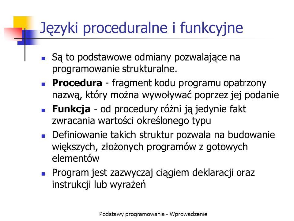 Języki proceduralne i funkcyjne