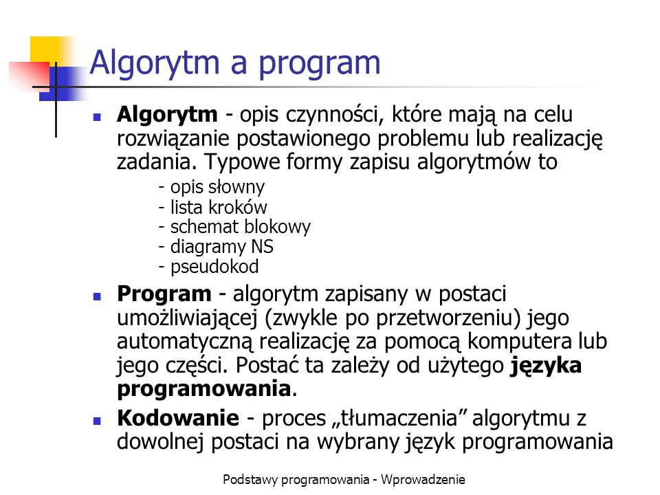 Podstawy programowania - Wprowadzenie