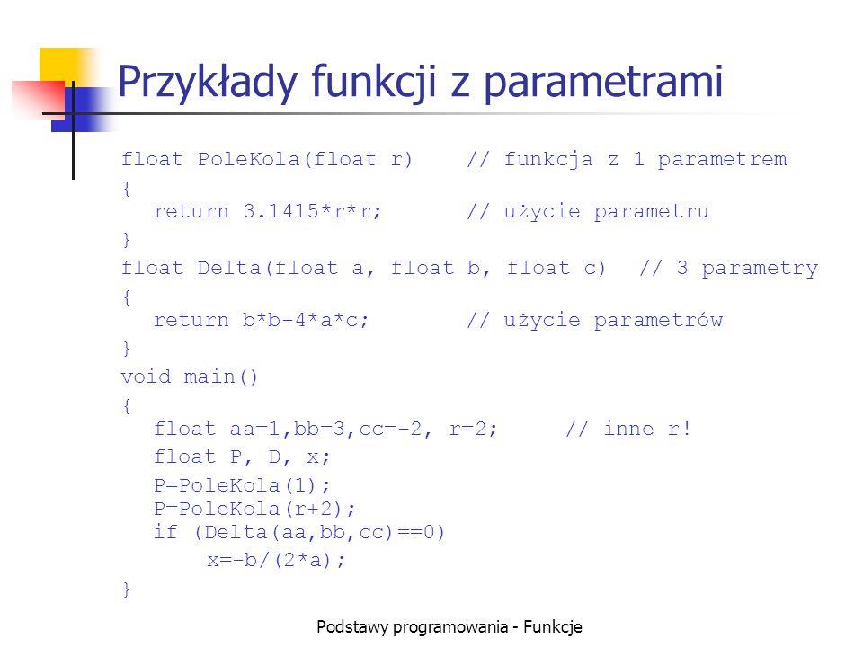 Przykłady funkcji z parametrami
