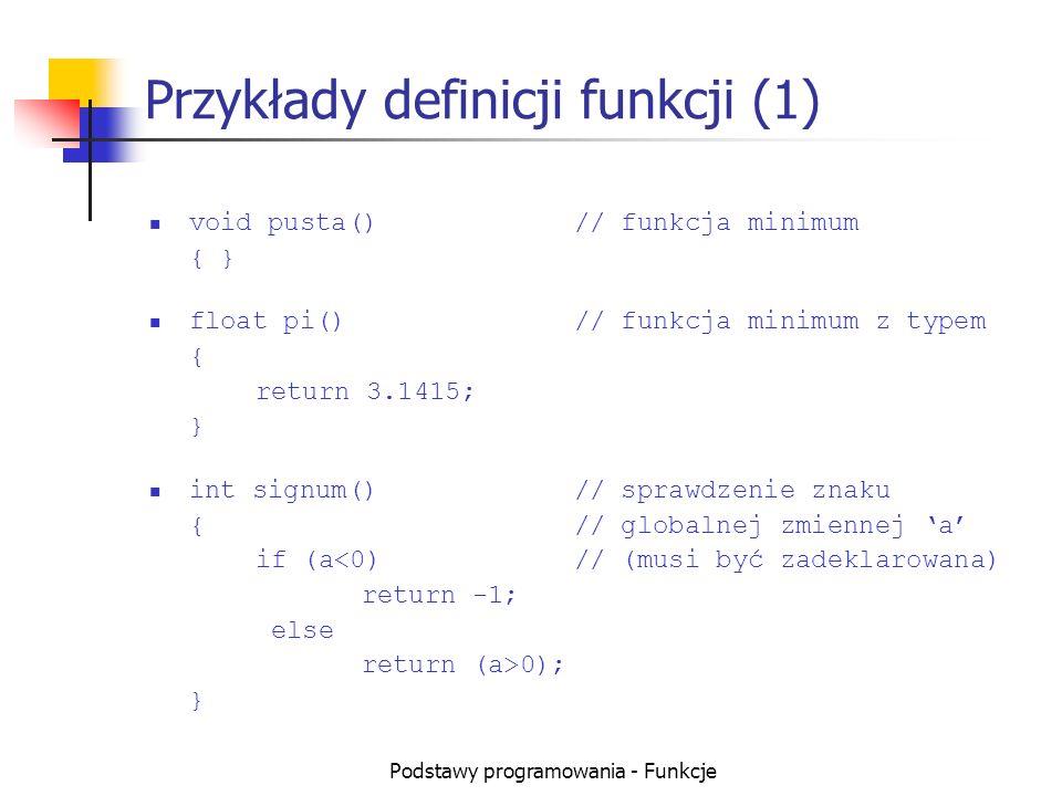 Przykłady definicji funkcji (1)