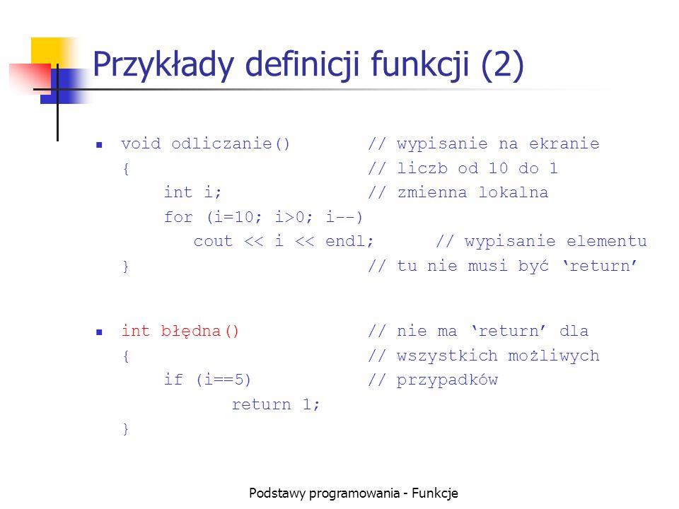 Przykłady definicji funkcji (2)