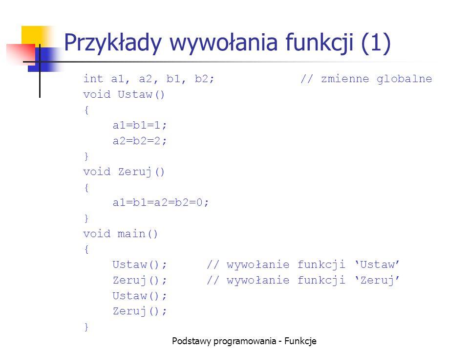 Przykłady wywołania funkcji (1)