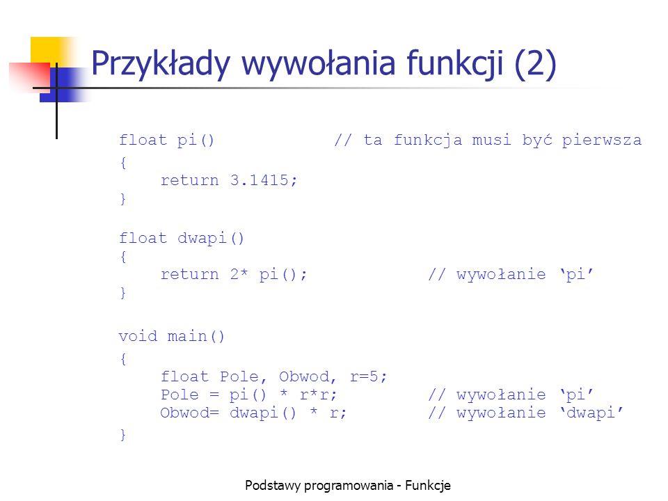 Przykłady wywołania funkcji (2)