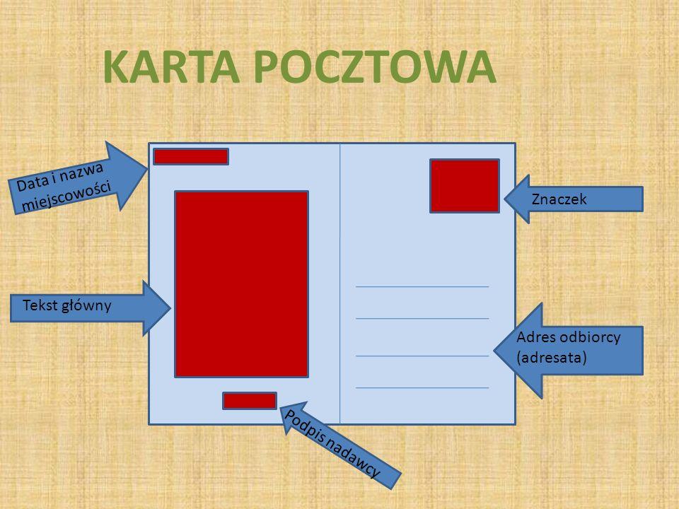KARTA POCZTOWA Data i nazwa miejscowości Znaczek Tekst główny