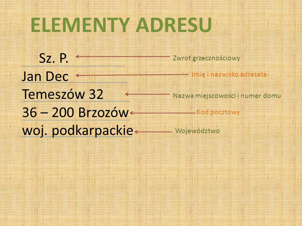 ELEMENTY ADRESU Sz. P. Jan Dec Temeszów 32 36 – 200 Brzozów