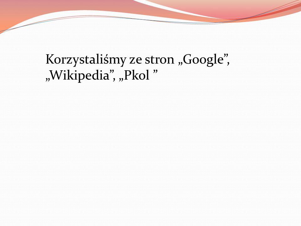 """Korzystaliśmy ze stron """"Google , """"Wikipedia , """"Pkol"""
