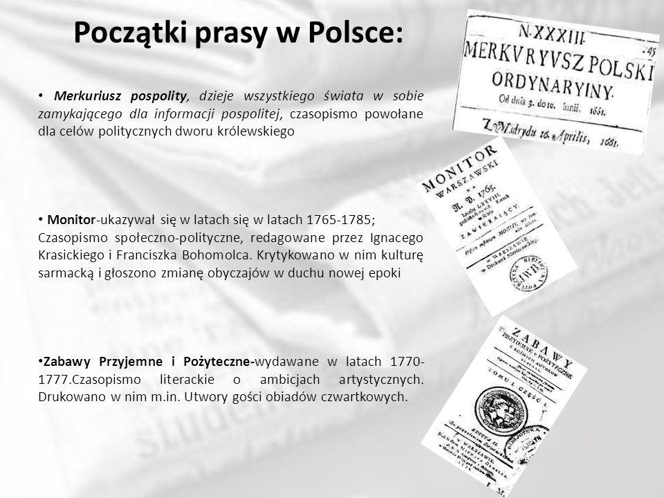 Początki prasy w Polsce: