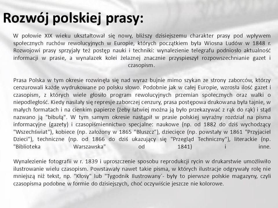 Rozwój polskiej prasy: