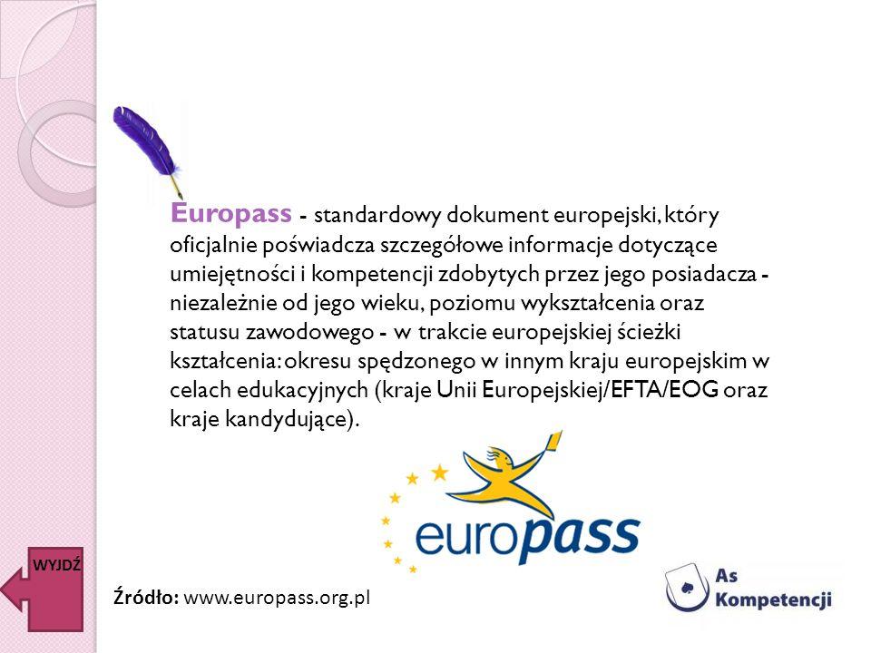 Europass - standardowy dokument europejski, który oficjalnie poświadcza szczegółowe informacje dotyczące umiejętności i kompetencji zdobytych przez jego posiadacza - niezależnie od jego wieku, poziomu wykształcenia oraz statusu zawodowego - w trakcie europejskiej ścieżki kształcenia: okresu spędzonego w innym kraju europejskim w celach edukacyjnych (kraje Unii Europejskiej/EFTA/EOG oraz kraje kandydujące).