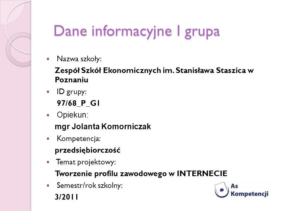 Dane informacyjne I grupa