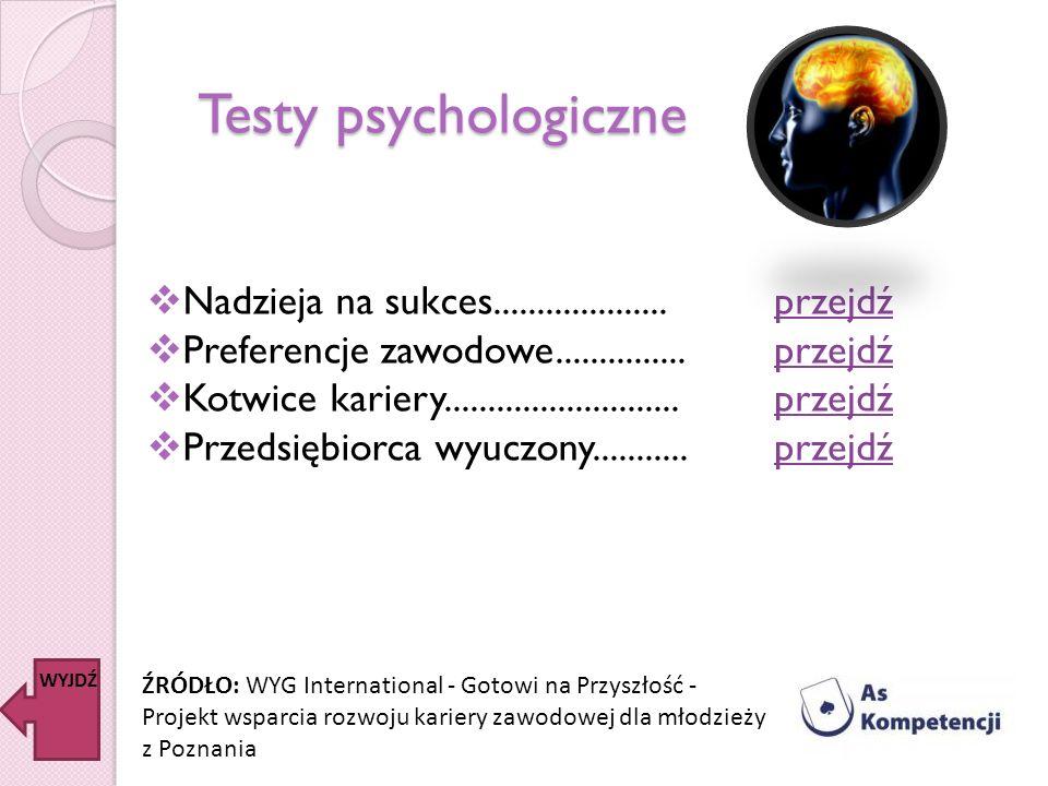 Testy psychologiczne Nadzieja na sukces....................