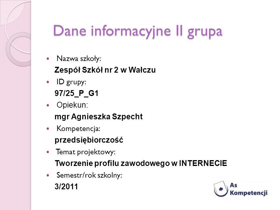 Dane informacyjne II grupa