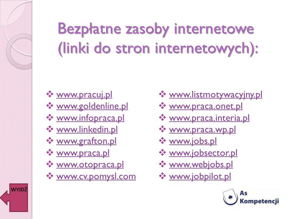 Bezpłatne zasoby internetowe (linki do stron internetowych):