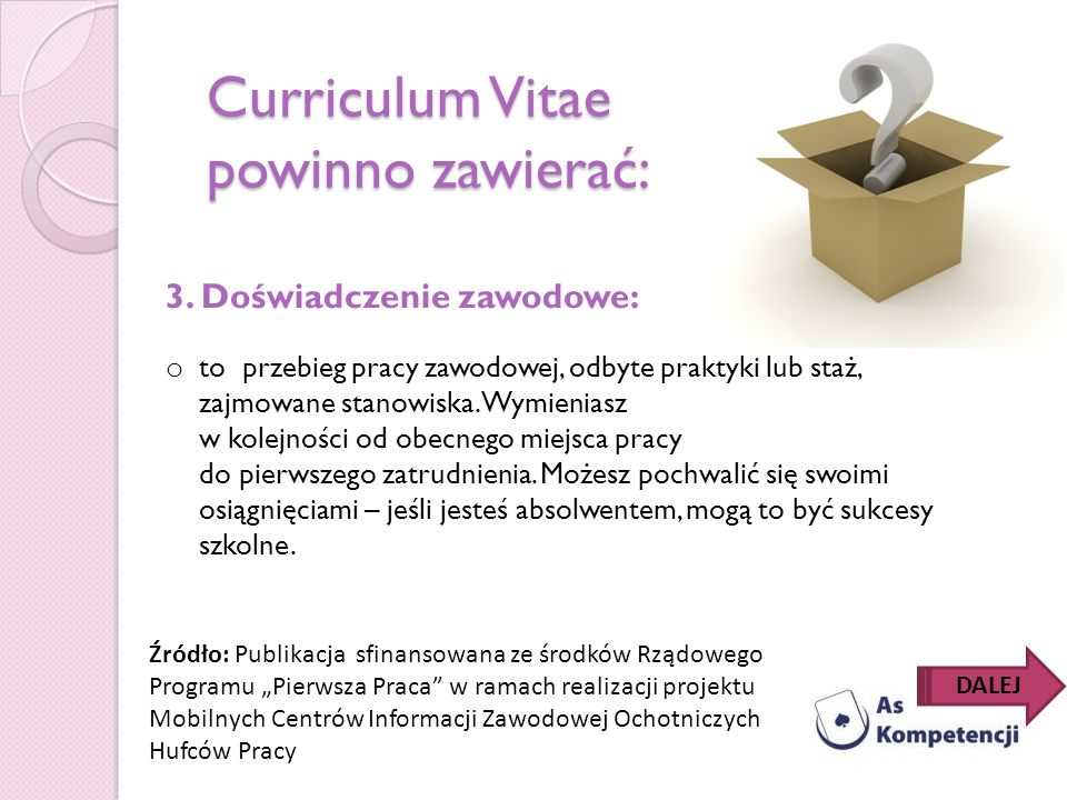 Curriculum Vitae powinno zawierać: