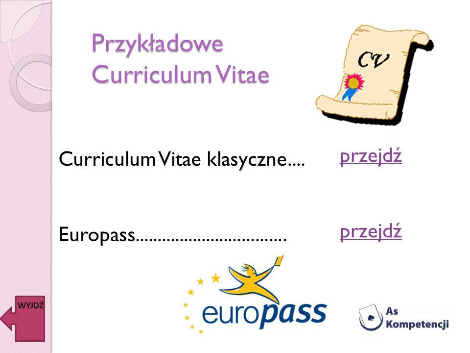 Przykładowe Curriculum Vitae