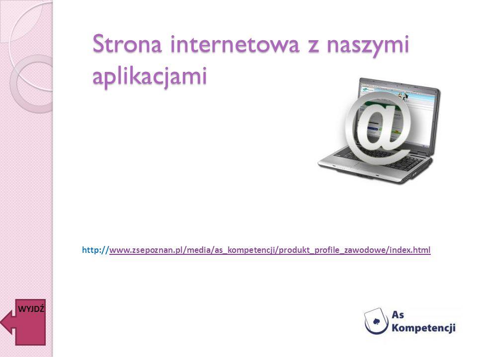Strona internetowa z naszymi aplikacjami