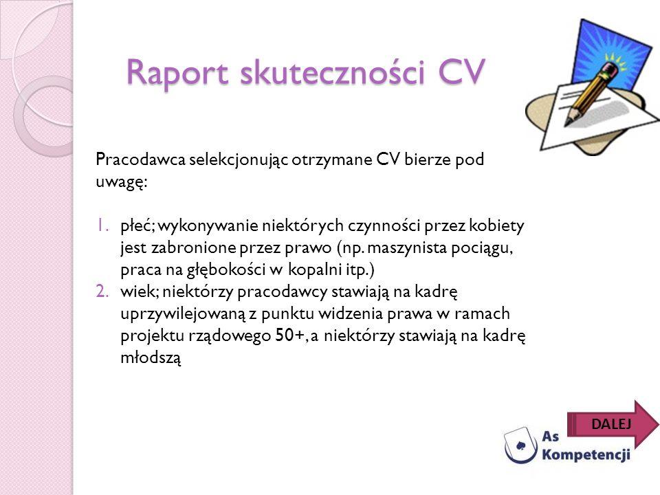 Raport skuteczności CV