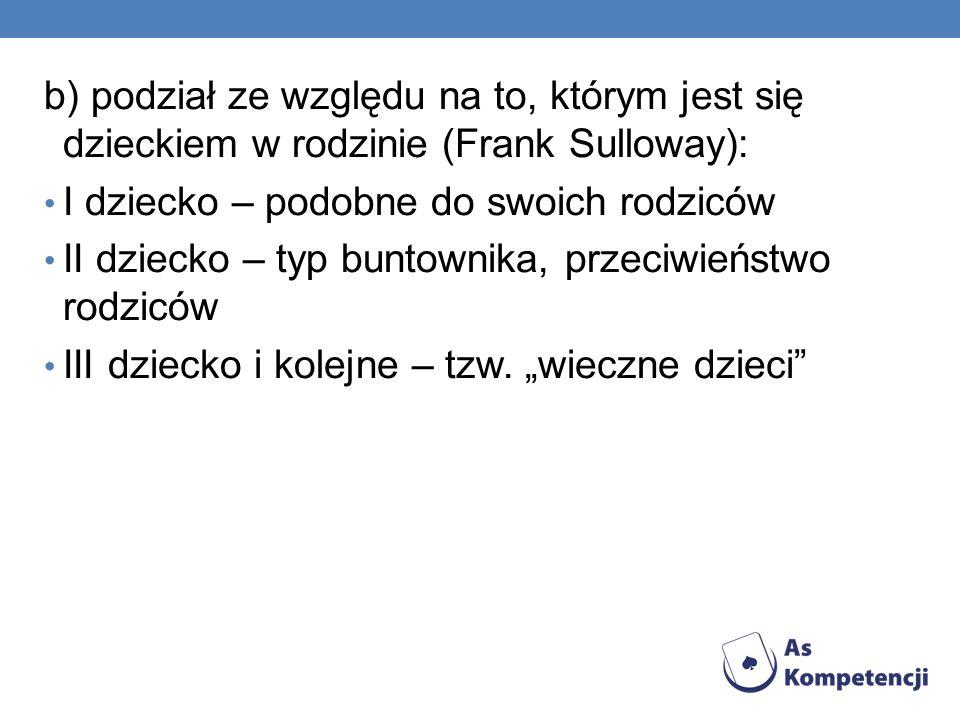 b) podział ze względu na to, którym jest się dzieckiem w rodzinie (Frank Sulloway):
