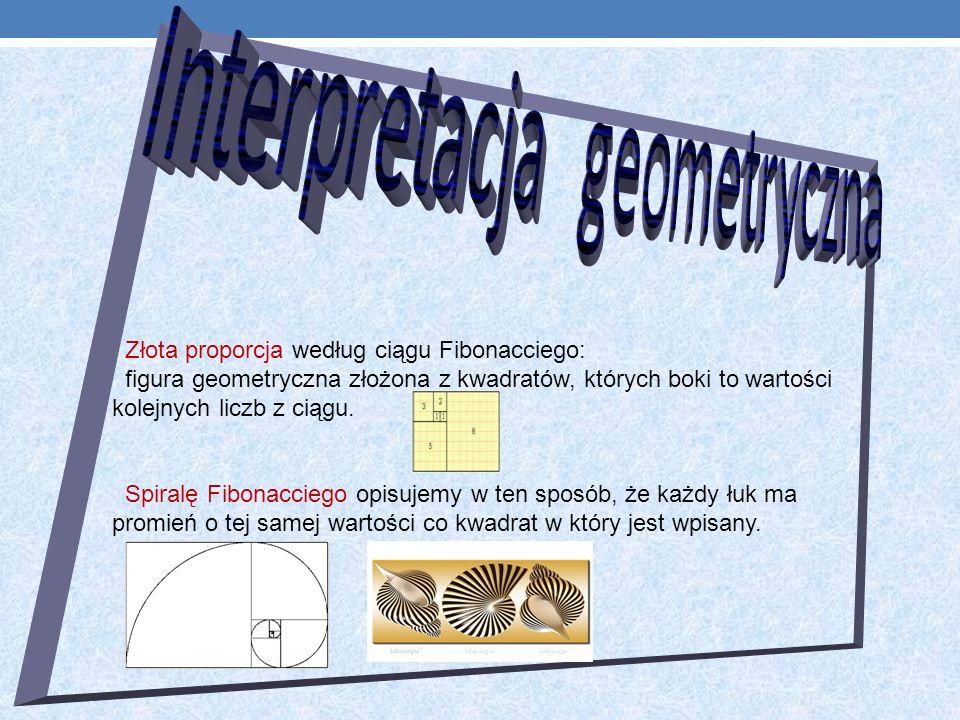 Złota proporcja według ciągu Fibonacciego: