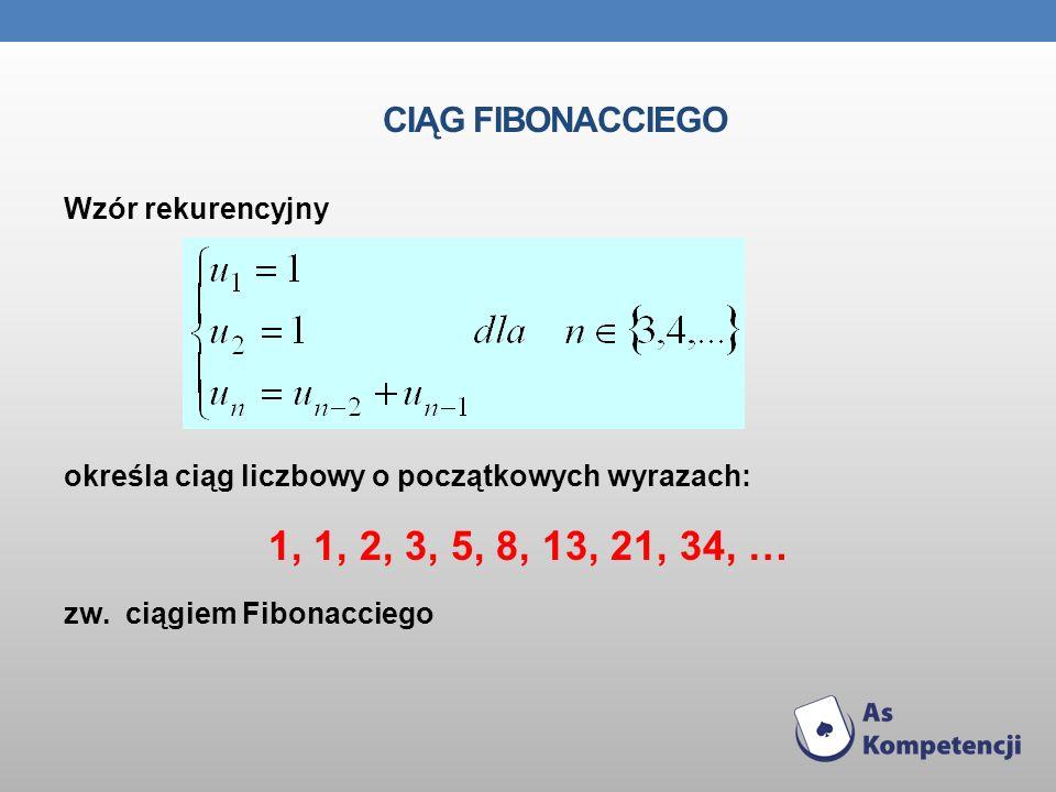 1, 1, 2, 3, 5, 8, 13, 21, 34, … Ciąg Fibonacciego Wzór rekurencyjny