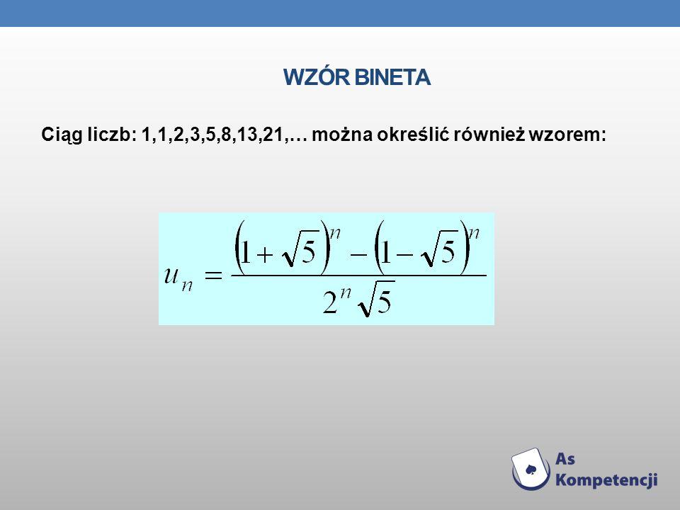 Wzór Bineta Ciąg liczb: 1,1,2,3,5,8,13,21,… można określić również wzorem: