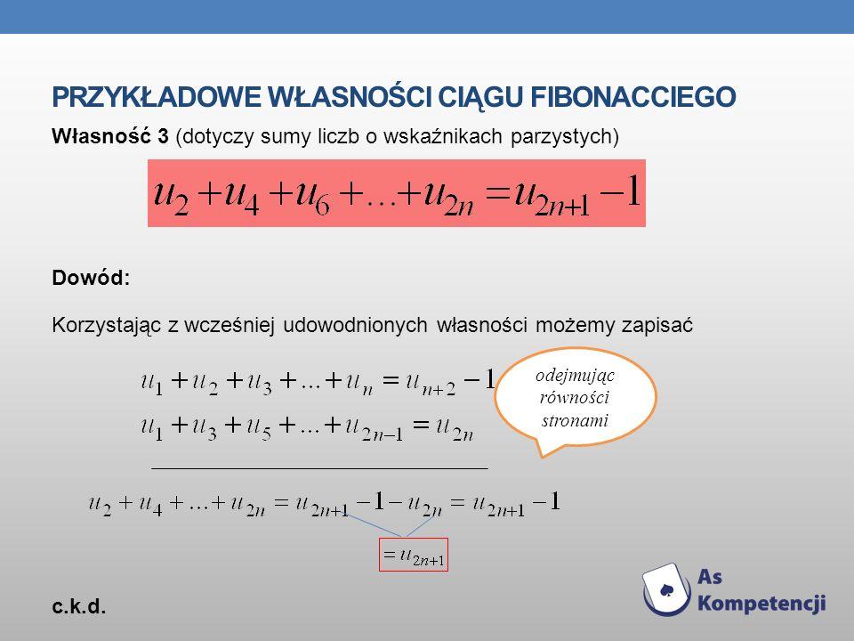 Przykładowe własności ciągu Fibonacciego