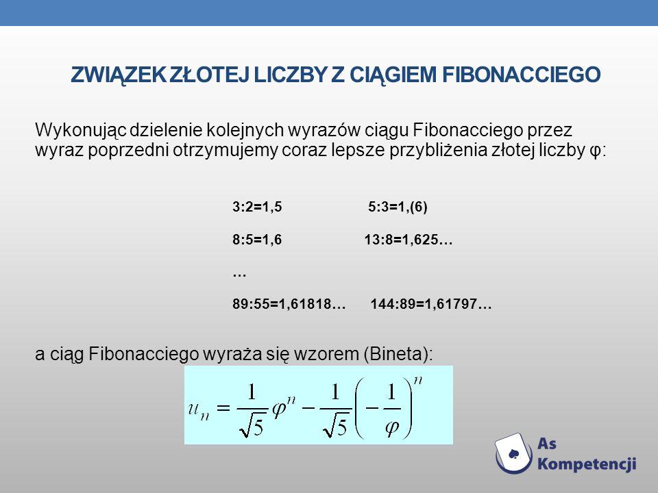 Związek złotej liczby z ciągiem fibonacciego