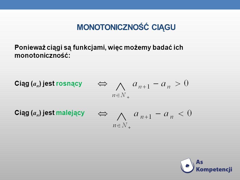 Monotoniczność ciąguPonieważ ciągi są funkcjami, więc możemy badać ich monotoniczność: Ciąg (an) jest rosnący Ciąg (an) jest malejący