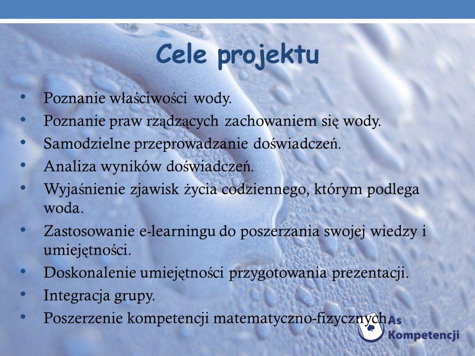 Cele projektu Poznanie właściwości wody.