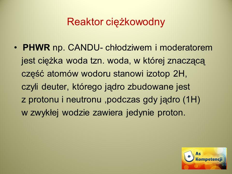 Reaktor ciężkowodny PHWR np. CANDU- chłodziwem i moderatorem