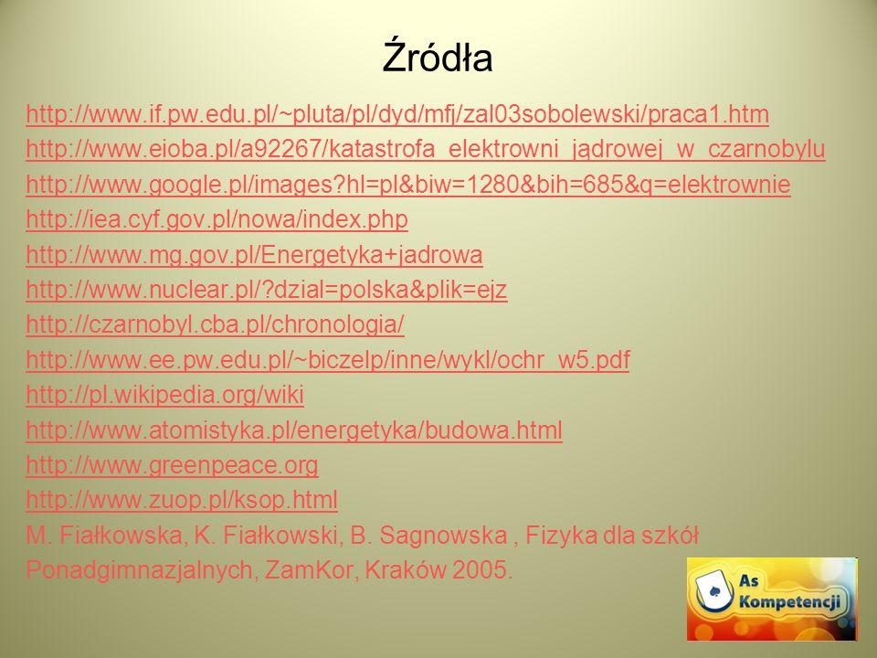 Źródła http://www.if.pw.edu.pl/~pluta/pl/dyd/mfj/zal03sobolewski/praca1.htm. http://www.eioba.pl/a92267/katastrofa_elektrowni_jądrowej_w_czarnobylu.