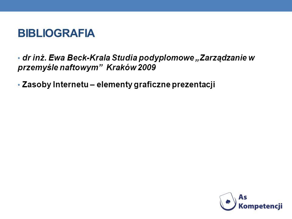 """BIBLIOGRAFIA dr inż. Ewa Beck-Krala Studia podyplomowe """"Zarządzanie w przemyśle naftowym Kraków 2009."""