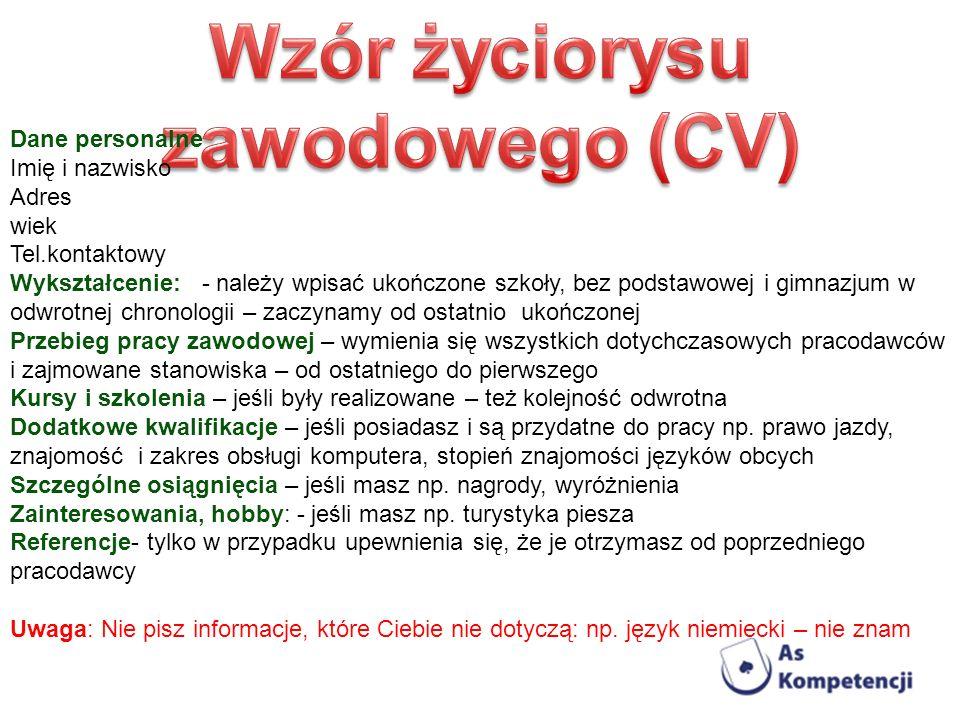 Wzór życiorysu zawodowego (CV)
