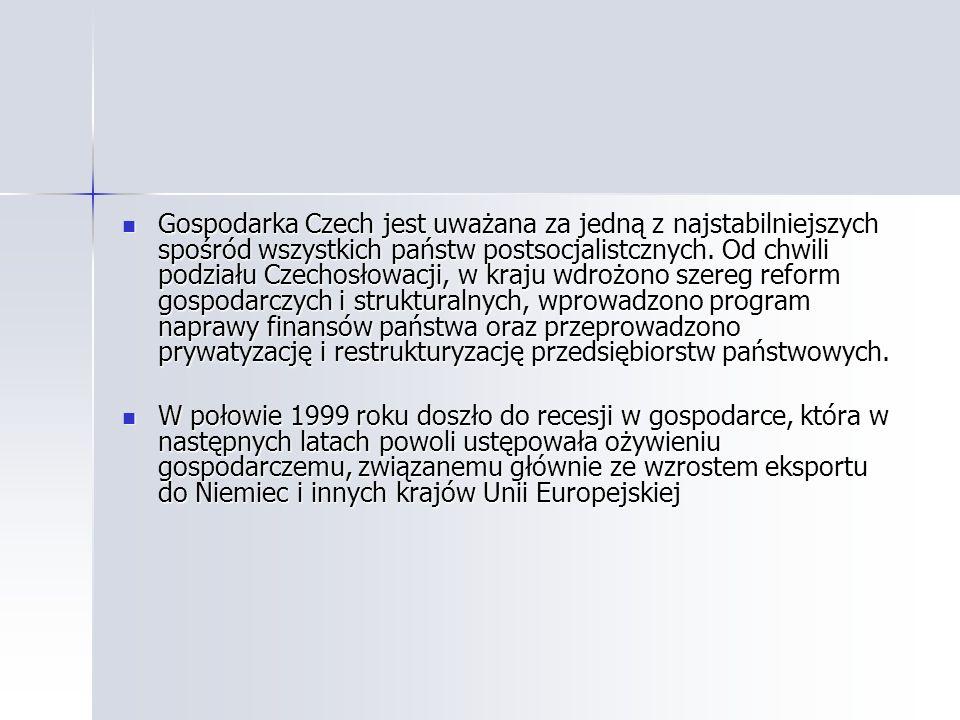 Gospodarka Czech jest uważana za jedną z najstabilniejszych spośród wszystkich państw postsocjalistcznych. Od chwili podziału Czechosłowacji, w kraju wdrożono szereg reform gospodarczych i strukturalnych, wprowadzono program naprawy finansów państwa oraz przeprowadzono prywatyzację i restrukturyzację przedsiębiorstw państwowych.