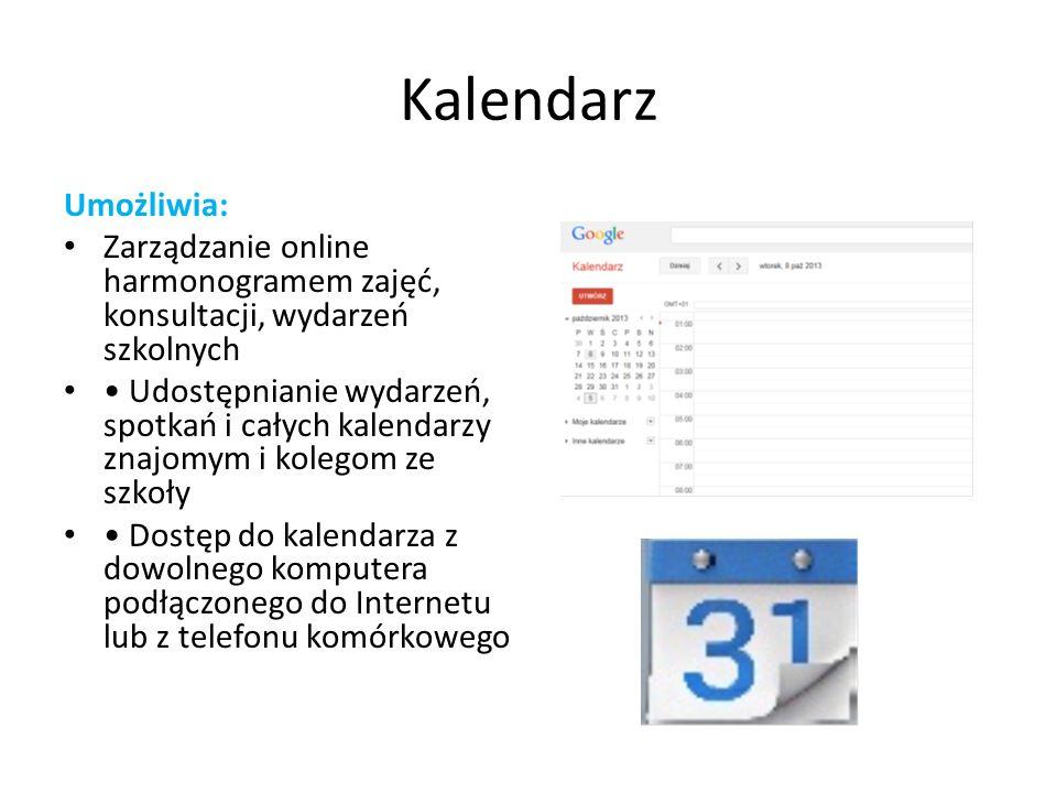 Kalendarz Umożliwia: Zarządzanie online harmonogramem zajęć, konsultacji, wydarzeń szkolnych.