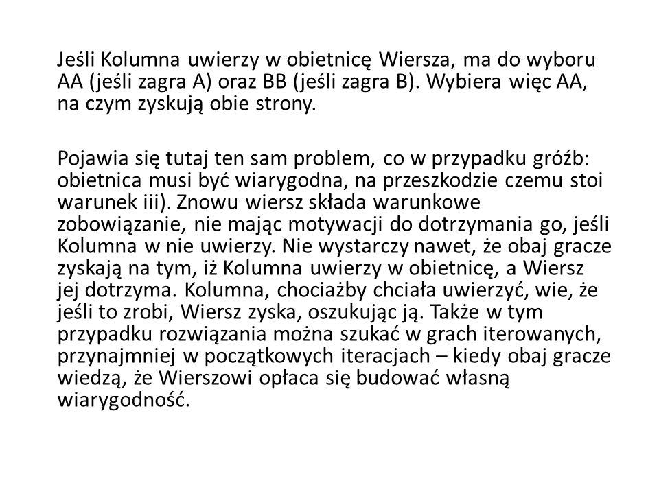 Jeśli Kolumna uwierzy w obietnicę Wiersza, ma do wyboru AA (jeśli zagra A) oraz BB (jeśli zagra B). Wybiera więc AA, na czym zyskują obie strony.