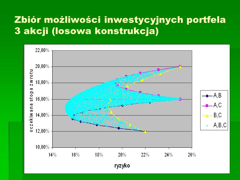 Zbiór możliwości inwestycyjnych portfela 3 akcji (losowa konstrukcja)