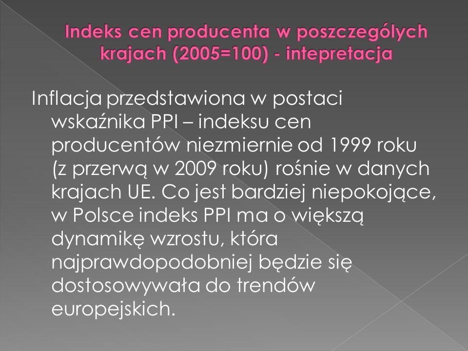 Indeks cen producenta w poszczególych krajach (2005=100) - intepretacja