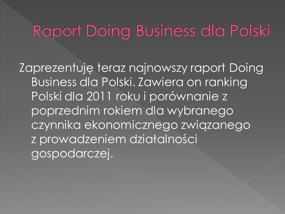 Raport Doing Business dla Polski