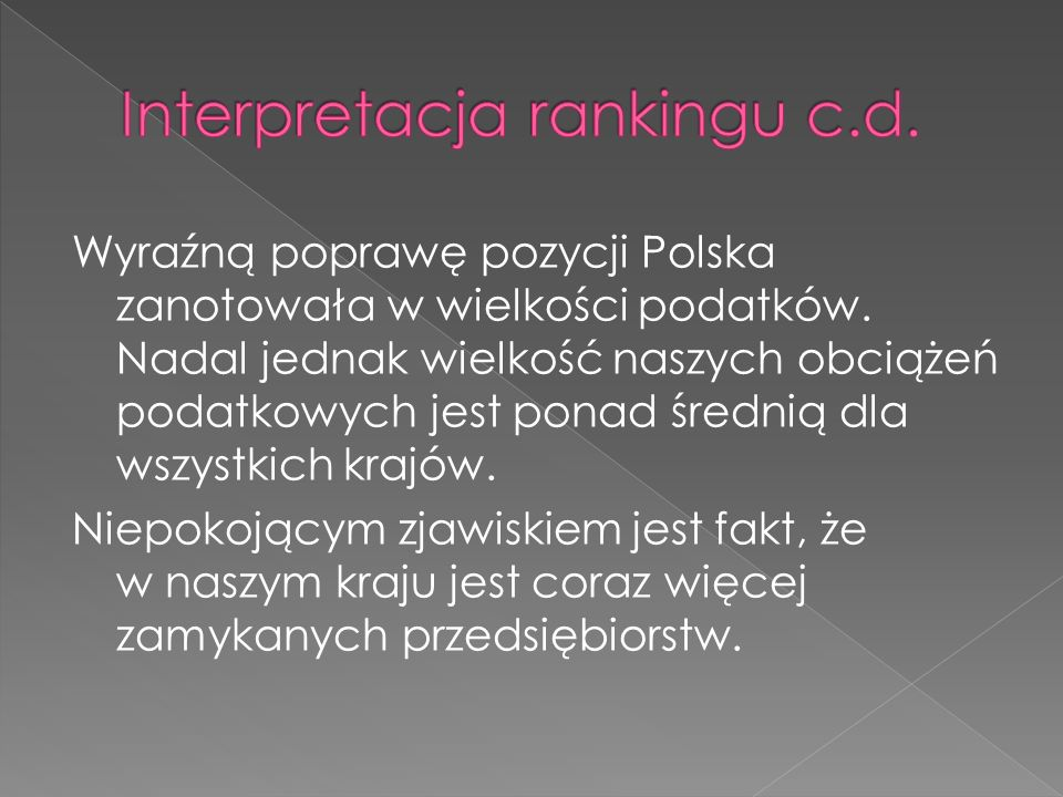 Interpretacja rankingu c.d.