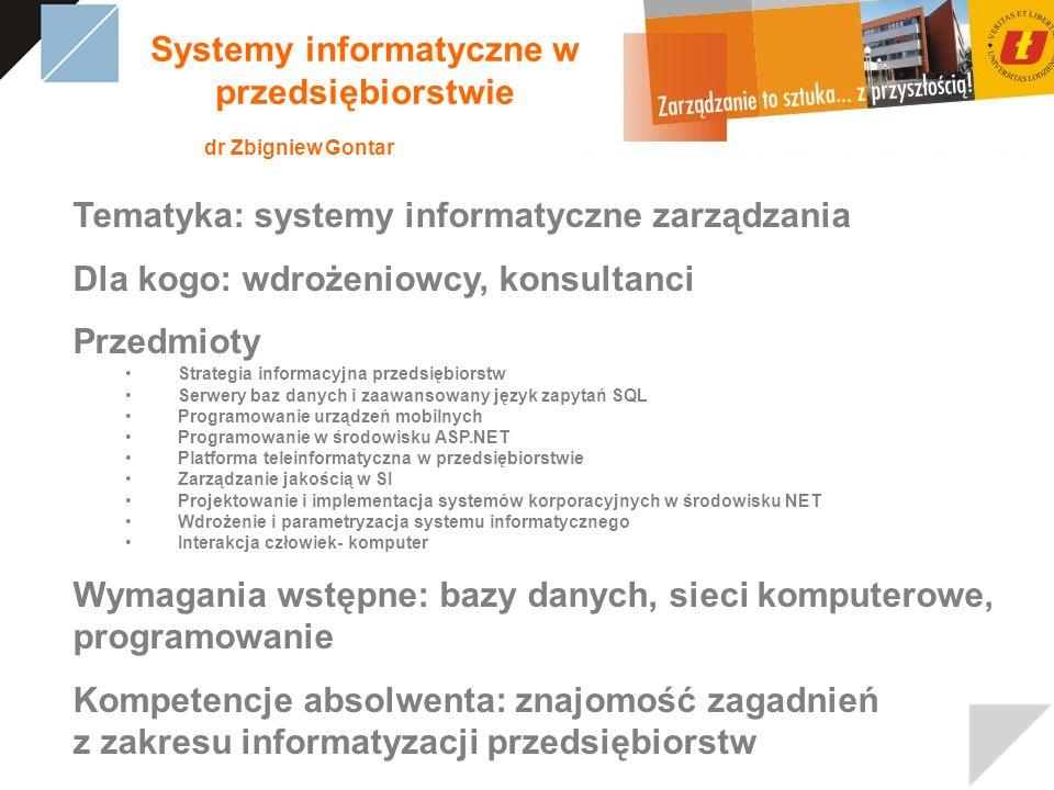 Systemy informatyczne w przedsiębiorstwie