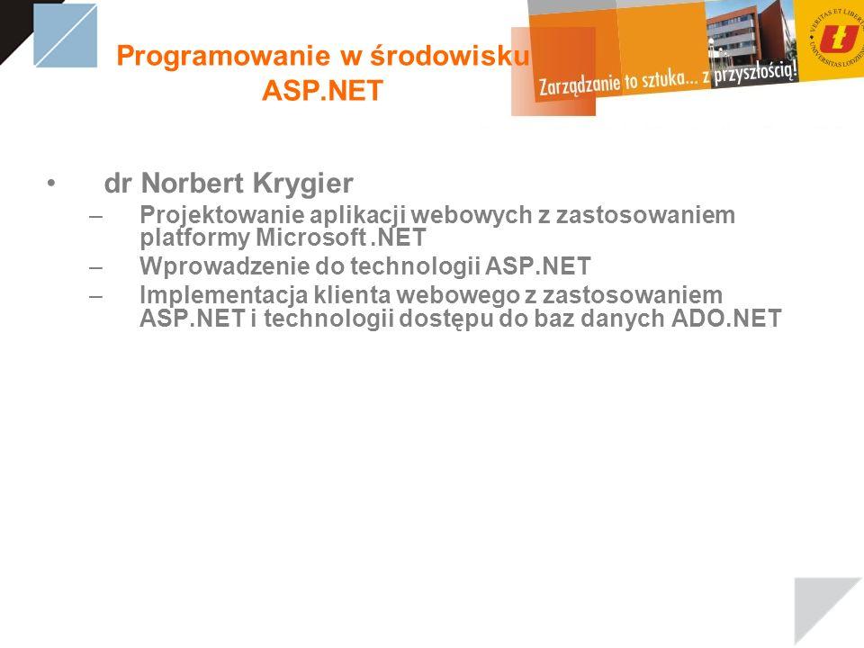 Programowanie w środowisku ASP.NET