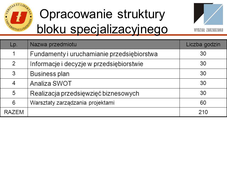 Opracowanie struktury bloku specjalizacyjnego