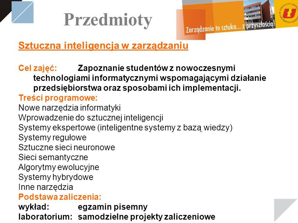Przedmioty Sztuczna inteligencja w zarządzaniu