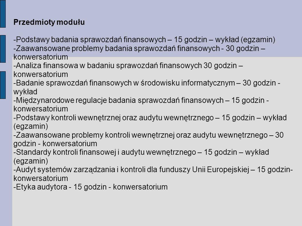 Przedmioty modułu -Podstawy badania sprawozdań finansowych – 15 godzin – wykład (egzamin)