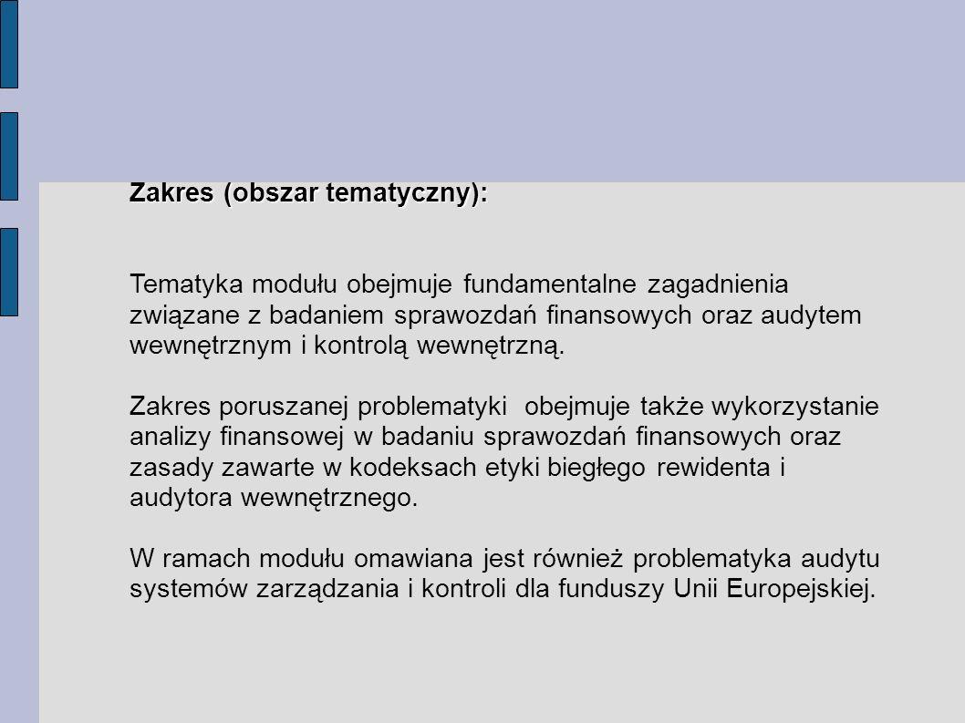 Zakres (obszar tematyczny):