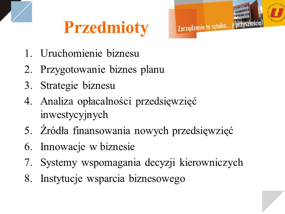 Przedmioty Uruchomienie biznesu Przygotowanie biznes planu
